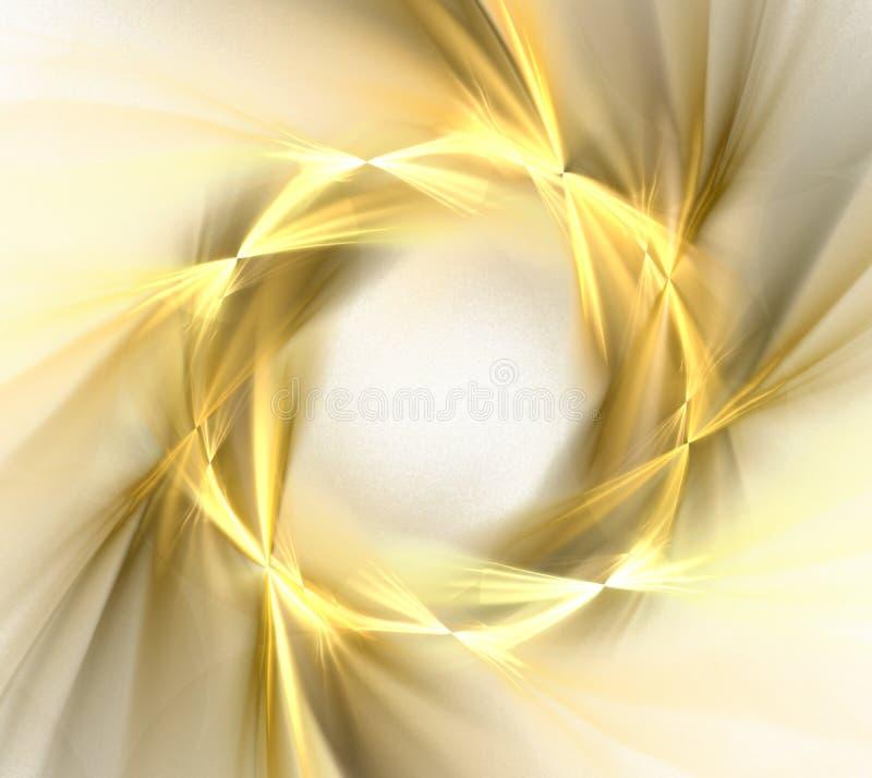 Abstrakt vit bakgrund med den guld- kransen med strålmodellen, vektor illustrationer