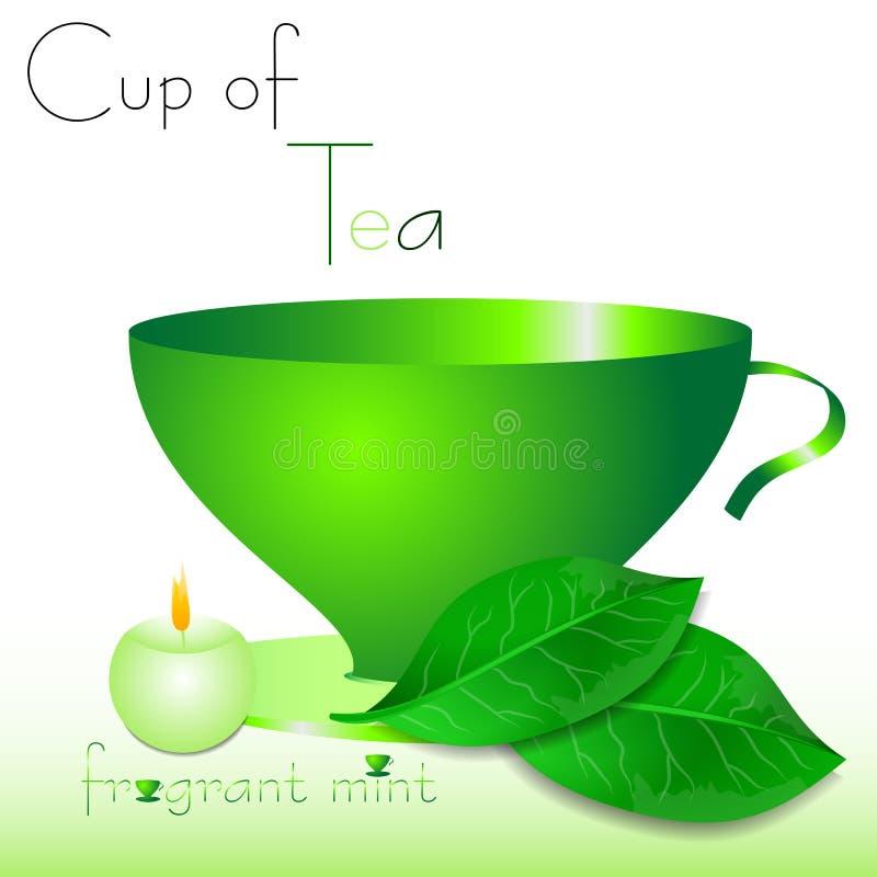 Abstrakt vit bakgrund med gröna kopp te- och mintkaramellsidor vektor illustrationer