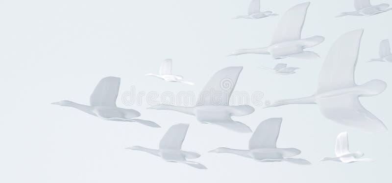 Abstrakt vit bakgrund med vita fåglar. Begreppet frihet, renhet och fred vektor illustrationer