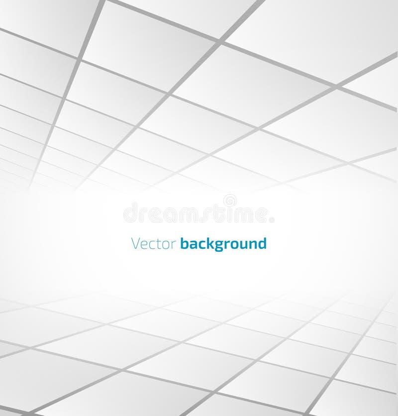 Abstrakt vit belagd med tegel bakgrund med ett perspektiv royaltyfri illustrationer