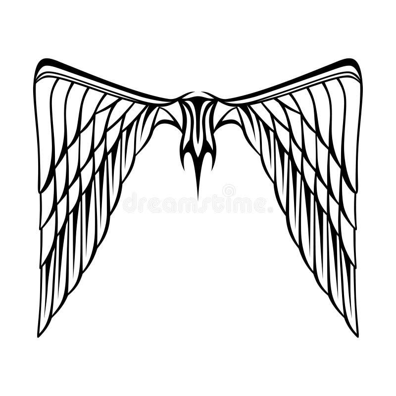 Abstrakt vit för svart för tatuering för vektorillustrationvingar vektor illustrationer