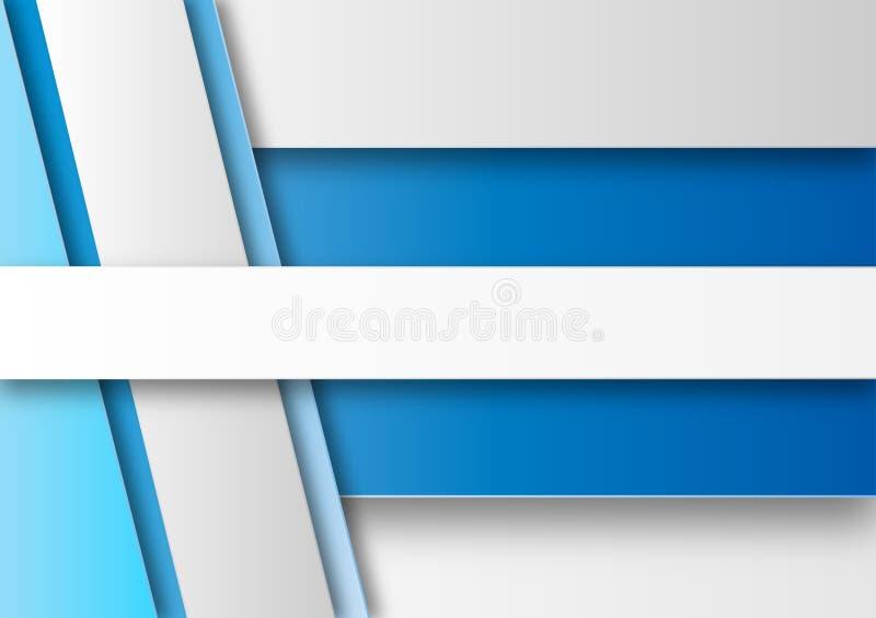 Abstrakt vit, grå och blå geometrisk bakgrund royaltyfri illustrationer