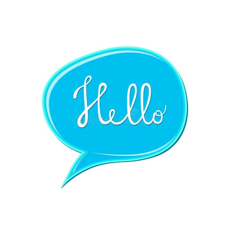 Abstrakt vit `-Hello ` undertecknar över den blåa anförandebubblasymbolen Bubbelgumfläck på vit bakgrund Färgmålarfärgdroppe royaltyfri illustrationer