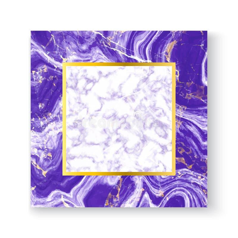 Abstrakt vit och lilor marmorerar texturhälsningkortet med guldfyrkantramen, förlägger din text Mall för dina designer, baner, royaltyfri illustrationer