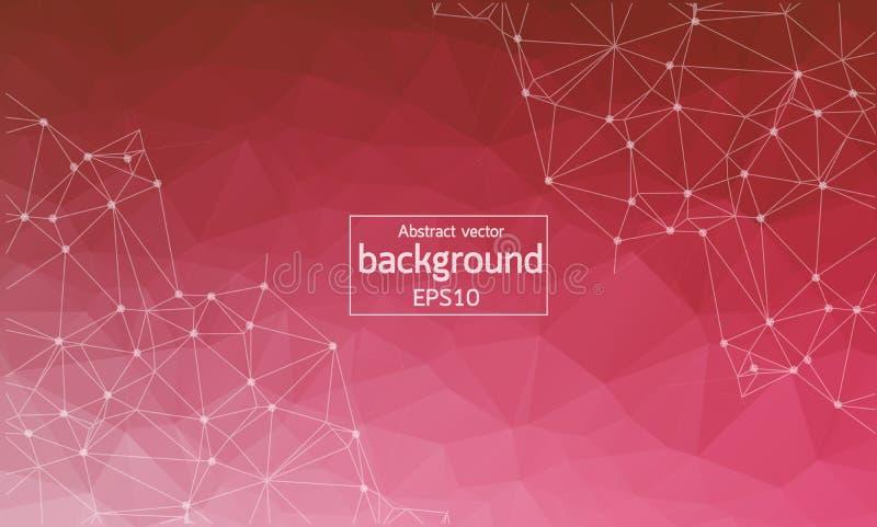 Abstrakt vit röd Polygonal utrymmebakgrund med förbindande prickar och linjer Anslutningsstruktur Vektorvetenskapsbakgrund Po royaltyfri illustrationer