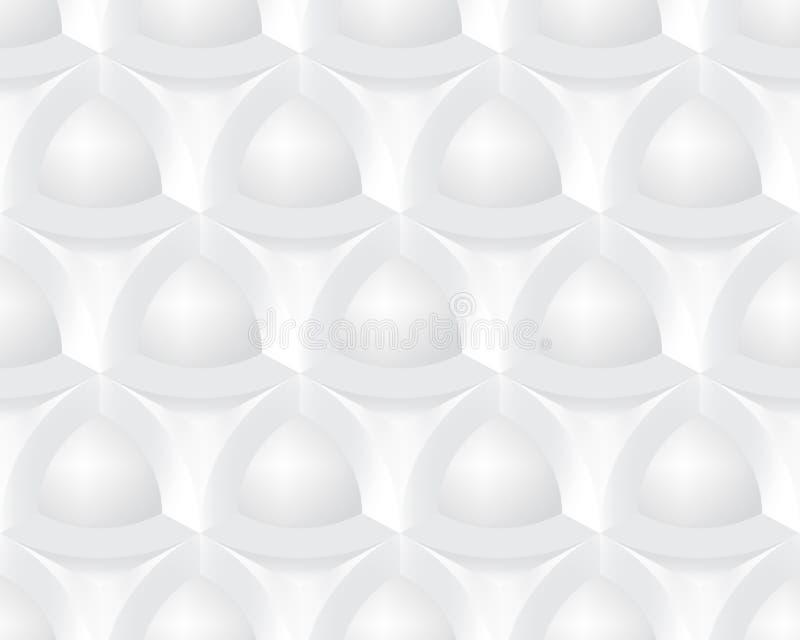 Abstrakt vit struktur med geometriska beståndsdelar Sömlös tredimensionell modell Realistisk ljus och skugga stock illustrationer