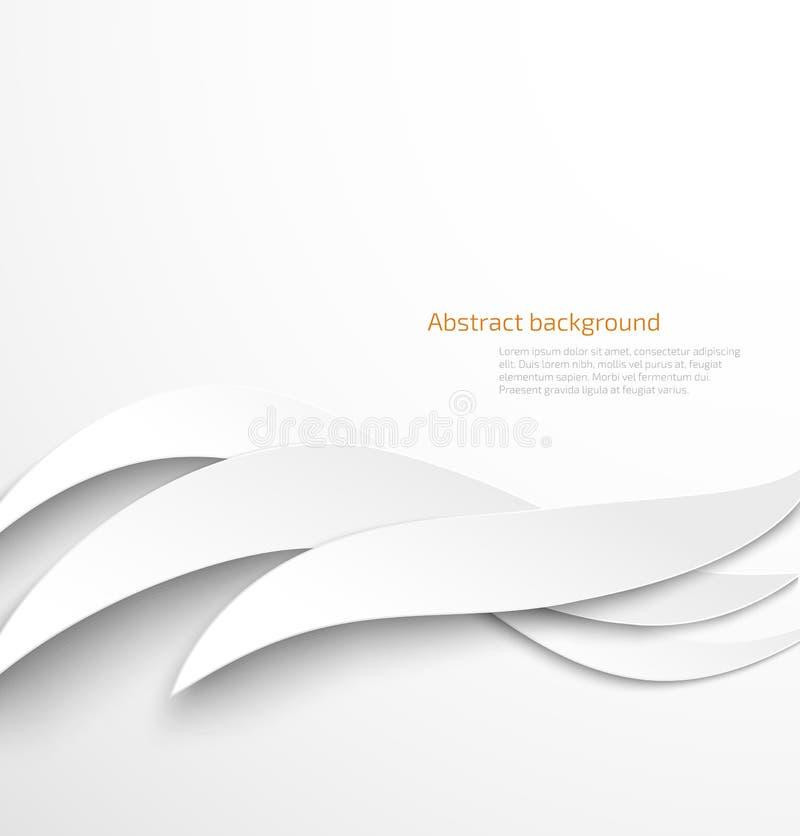Abstrakt vit vågbakgrund med droppskugga vektor illustrationer