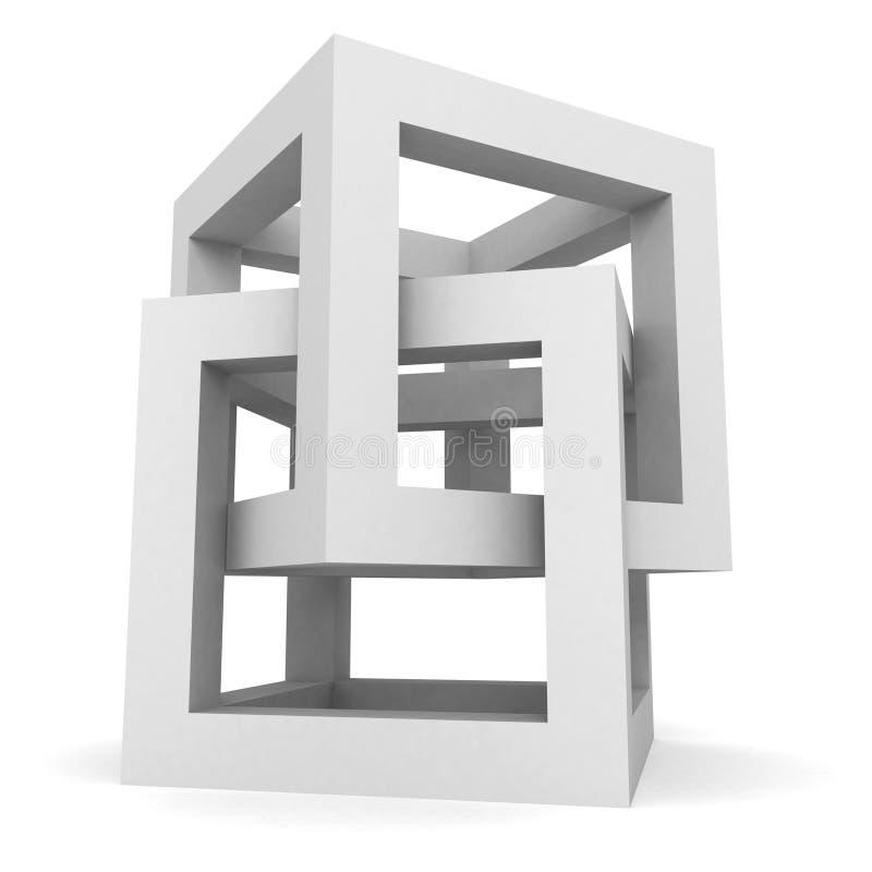 Abstrakt vitt kubstrukturobjekt royaltyfri illustrationer