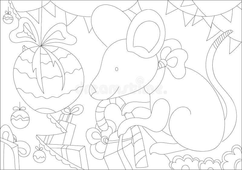 Abstrakt vuxet, konst, bakgrund, svart, bok, tecknad film, barn, jul, färgläggning, färgläggningbok som färgar sidor, kontur, stock illustrationer