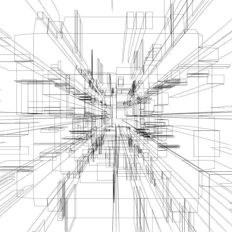 abstrakt wireframe royaltyfri illustrationer