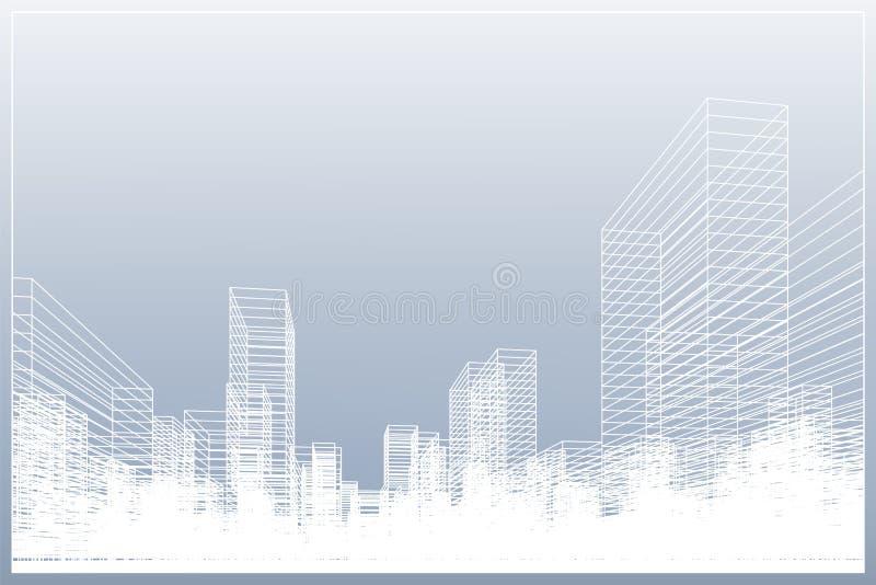 Abstrakt wireframestadsbakgrund Perspektivet 3D framför av byggnadswireframe royaltyfri illustrationer