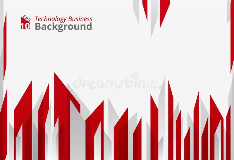 Abstrakt wysokiej ostrej czerwonej technologii składu geometrical tło ilustracja wektor