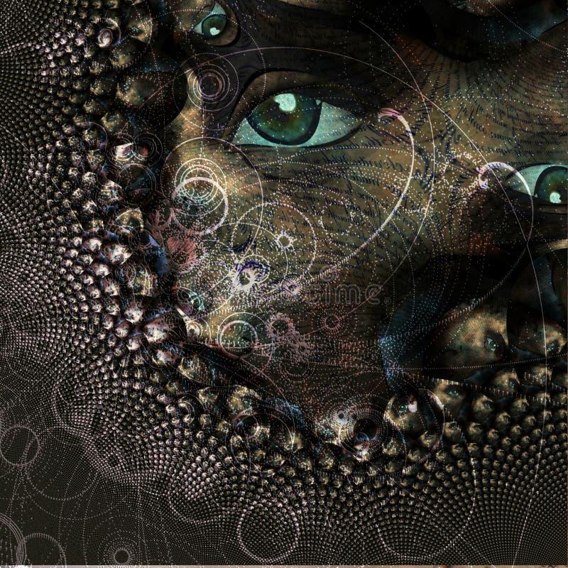 Abstrakt z okiem i cząsteczkami ilustracja wektor