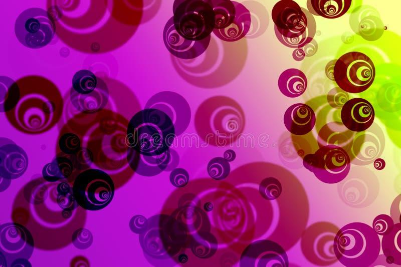 Abstrakt zamazujący różowy tło z jaskrawym kolorowym fractal wzorem w postaci bąbli, fantazja okręgi royalty ilustracja