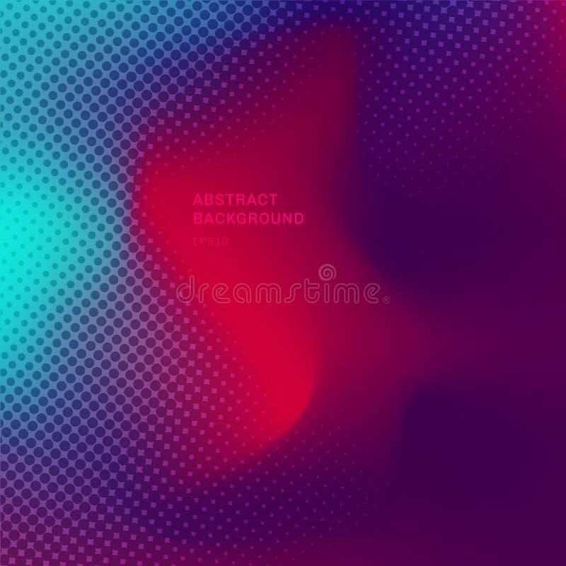 Abstrakt zamazywał gradientowego tła modne menchie, purpury i błękitnych wibrujących kolory z halftone teksturą, ilustracja wektor