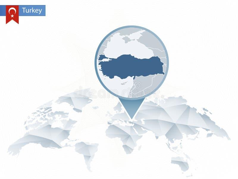 Abstrakt zaokrąglająca Światowa mapa z przypiętą szczegółową Indyczą mapą ilustracja wektor