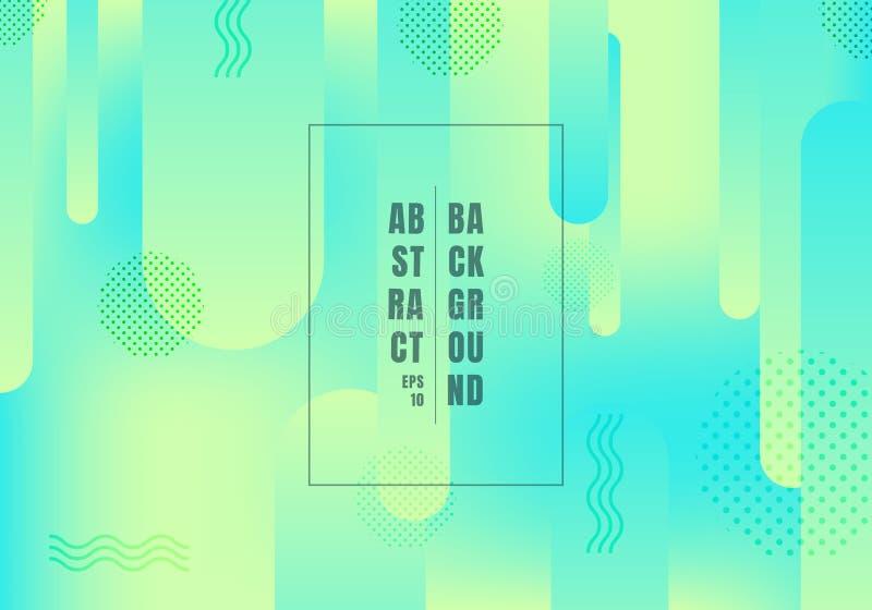 Abstrakt zaokrąglający kształtuje linii przemiany koloru geometrycznych wibrujących zielonych i błękitnych gradientów kolory na j ilustracja wektor