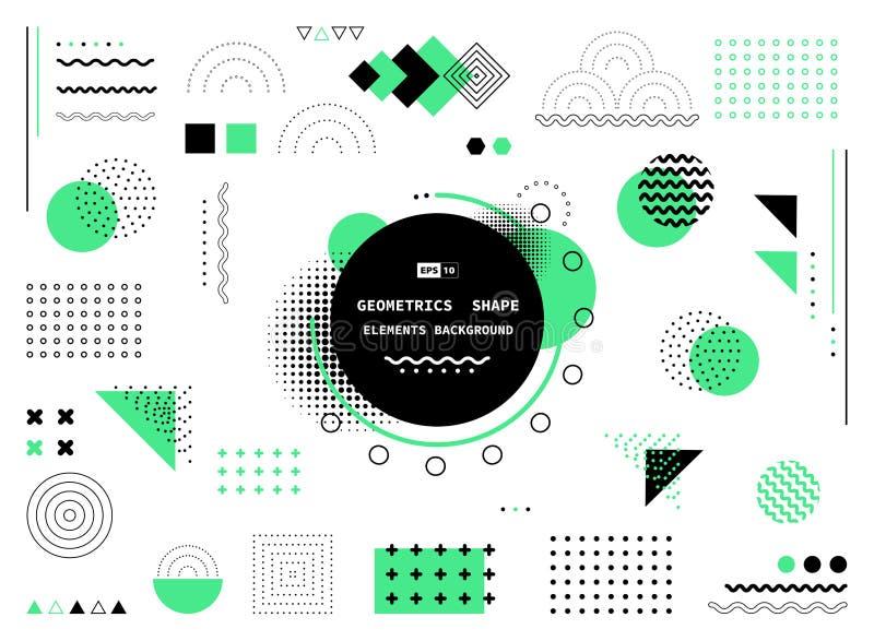 Abstrakt zieleń i czarny geometryczny kształt nowożytny element pokrywy projekt Ilustracyjny wektor eps10 royalty ilustracja