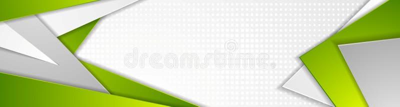 Abstrakt zieleń i popielatej techniki sztandaru geometryczny projekt ilustracja wektor