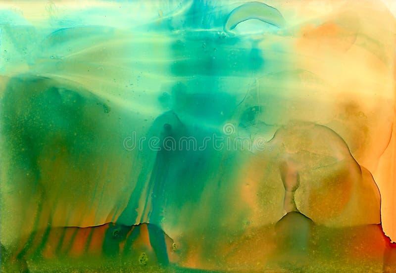 Abstrakt zielonej pomarańcze gładkie czochry ilustracja wektor