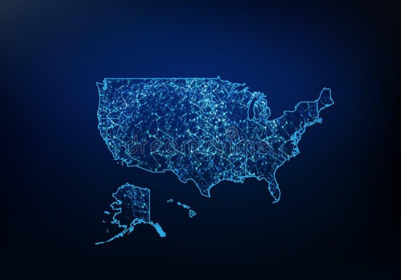 Abstrakt Zlany stan Ameryka mapy sie?, internet i globalny pod??czeniowy poj?cie, drut Ramowej 3D siatki sieci poligonalna linia royalty ilustracja