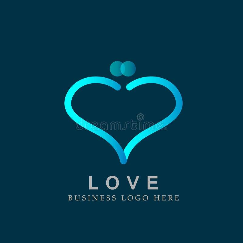 Abstrakta älska kyssande par formade linjen symbolen för hjärtaförälskelselogoen för vektor för valentingåvasymbol vektor illustrationer