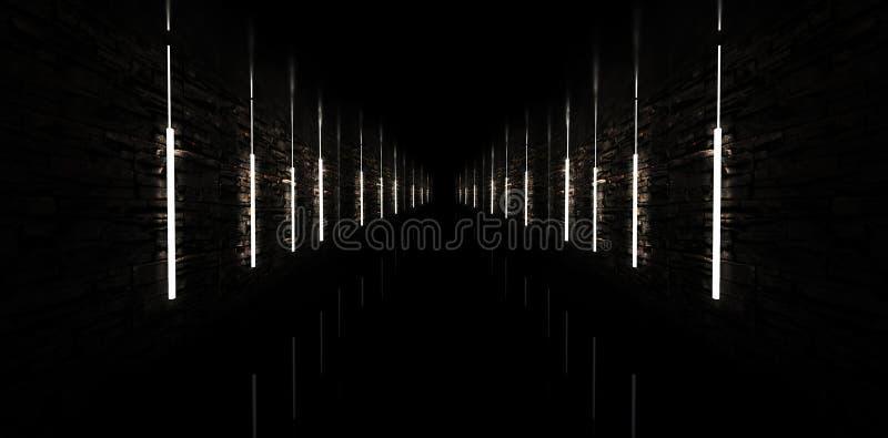 Abstrakta łuk, tunel, korytarz, neonowy światło, promienie ilustracja 3 d obrazy royalty free