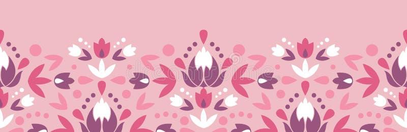 Abstrakta adamaszek kwitnie horyzontalny bezszwowego ilustracji