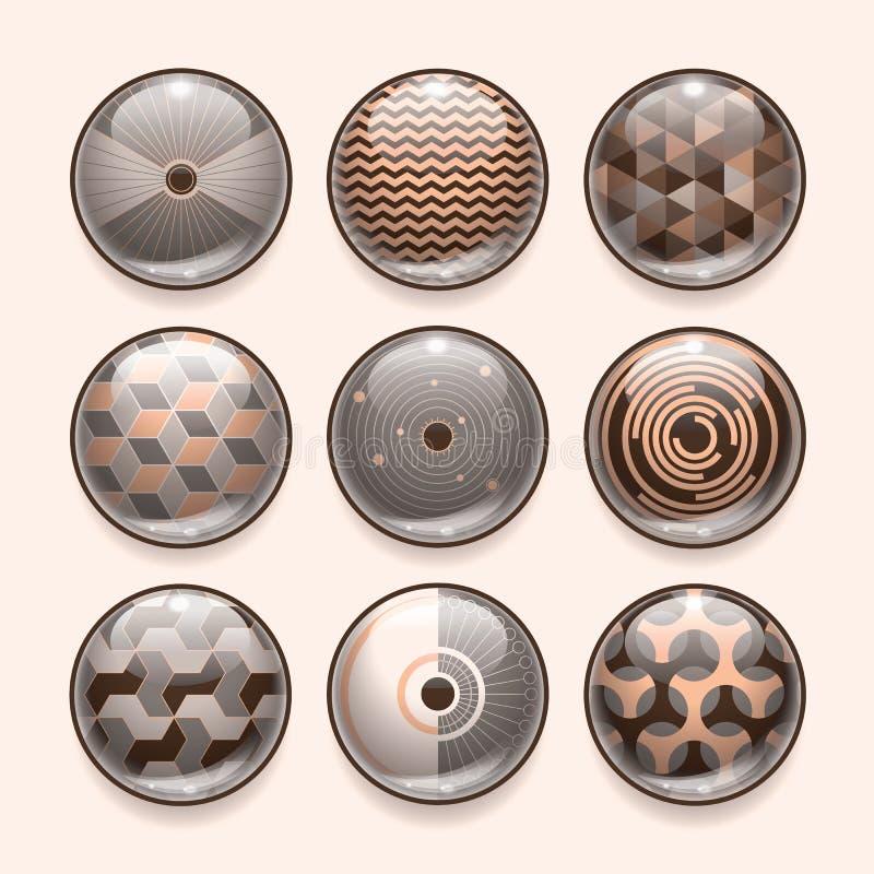 Abstrakta App-symboler II stock illustrationer