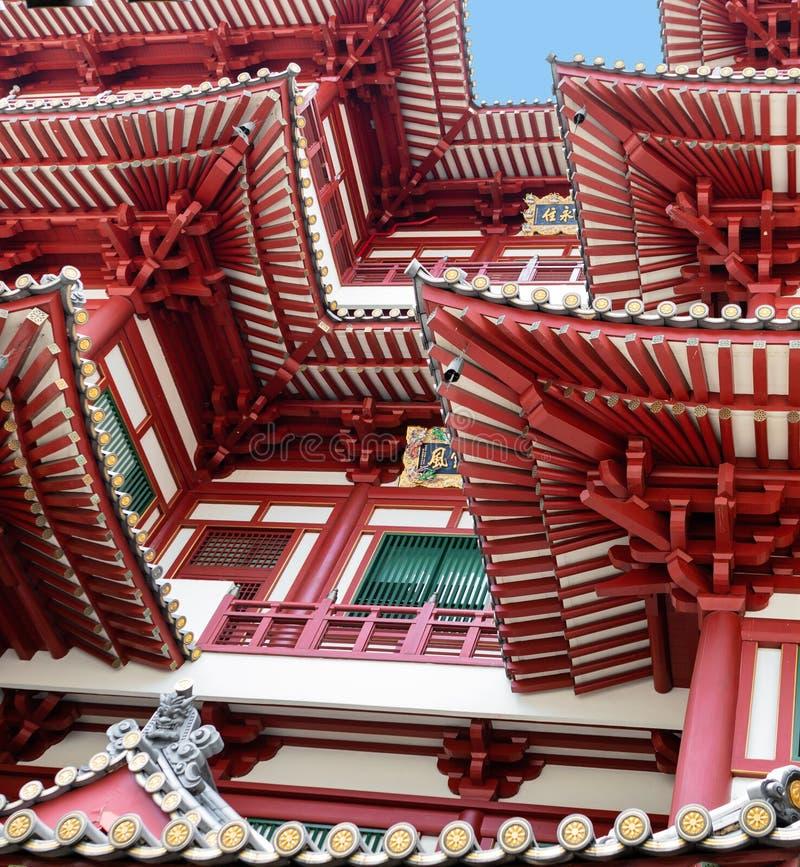 Abstrakta arkitekturdetaljer av den sakrala tanden av Buddhatemplet i Singapore royaltyfria bilder