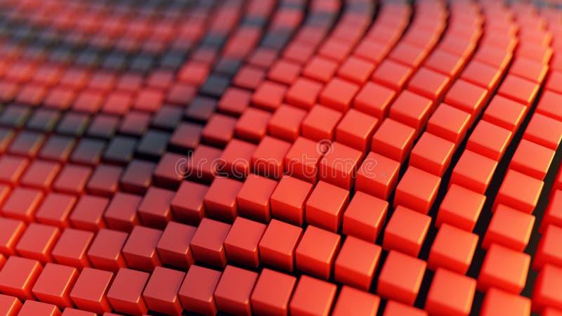 Abstrakta askar för bakgrund för illustration vikta, krabba, röda och svarta, tolkning 3d stock illustrationer