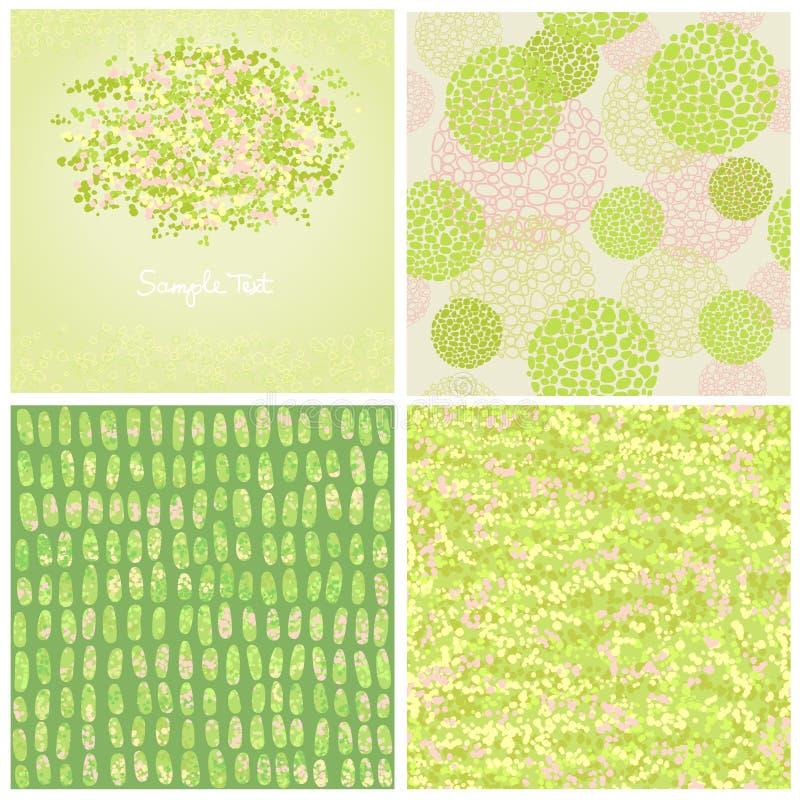 Abstrakta bakgrunder för uppsättning fyra av grön färg stock illustrationer