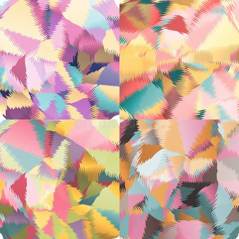 Abstrakta bakgrunder med trianglar och färgrika geometriska former vektor illustrationer