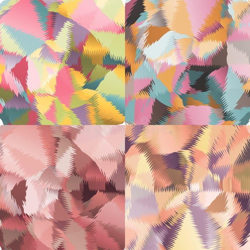 Abstrakta bakgrunder med trianglar och färgrika geometriska former royaltyfri illustrationer