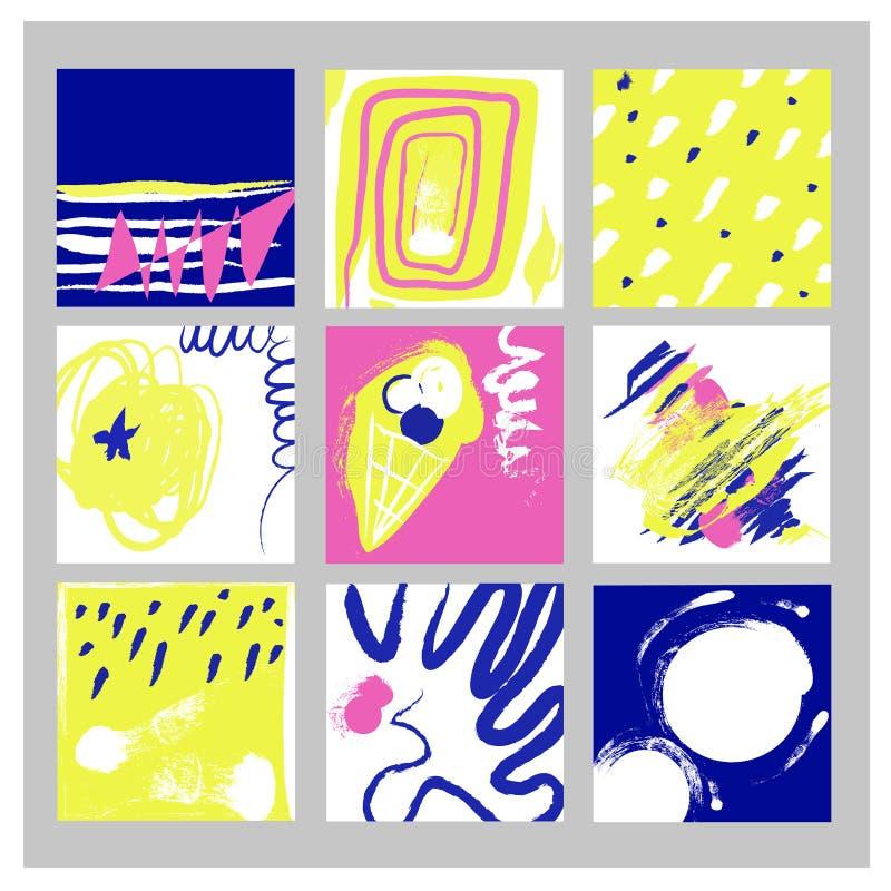 Abstrakta bakgrunder ställde in i modern stil, handdrawn knapphändig design också vektor för coreldrawillustration vektor illustrationer