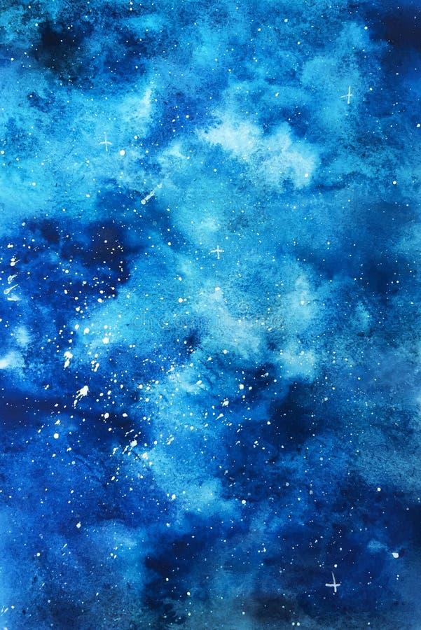 Abstrakta bakgrundsblått med stjärnor och moln stock illustrationer