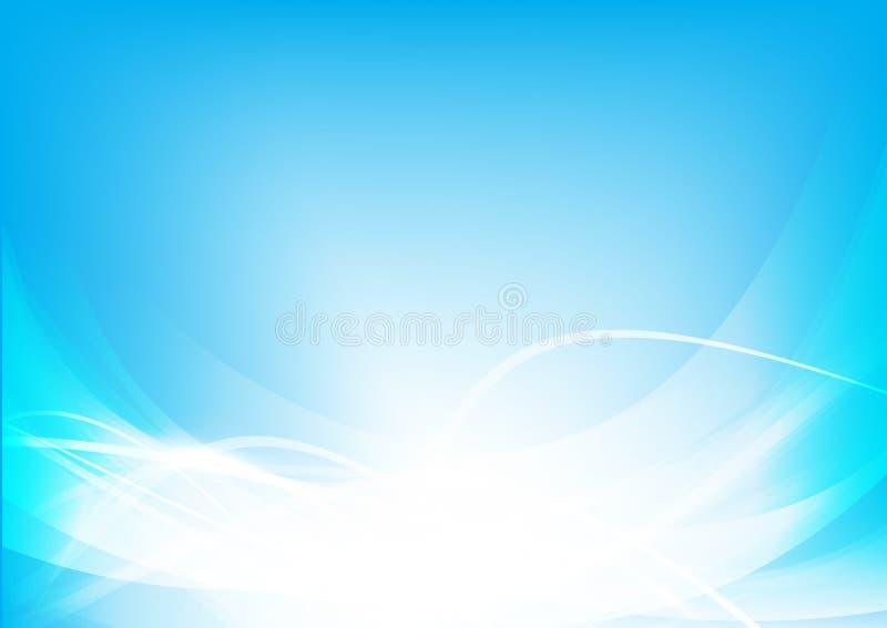 Abstrakta bakgrundsblått vinkar kurvan och belysningbeståndsdelvektorn vektor illustrationer