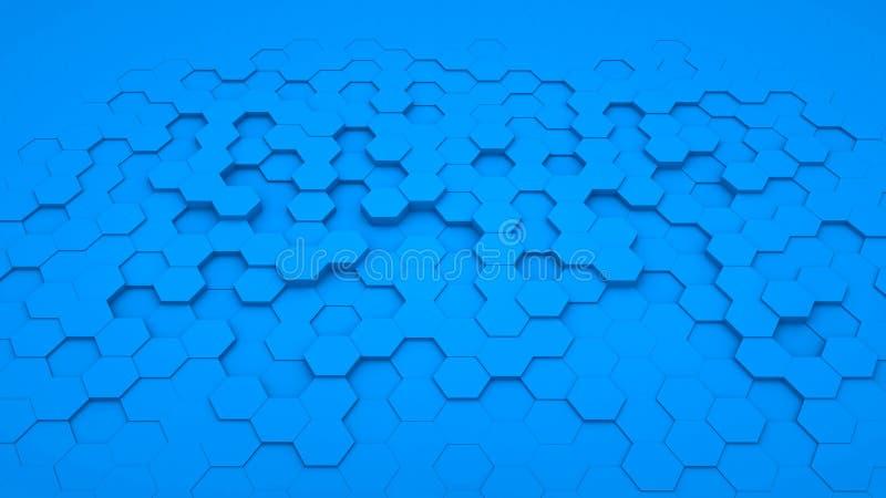 Abstrakta bakgrundssexhörningsblått i perspektiv royaltyfri bild