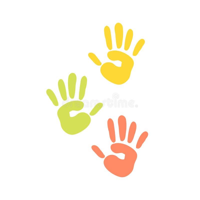 Abstrakta bakgrundstryck av händer av färgen för färgpulver för fingret för konst för modellen för barnvektorillustrationen gömma royaltyfri illustrationer