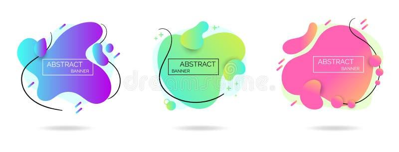 Abstrakta baner för modern färgrik lutning Vätskebeståndsdeluppsättning vektor illustrationer