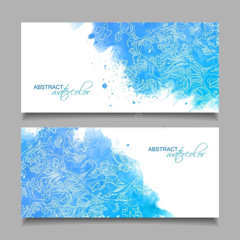 Abstrakta baner för vektorvattenfärgblått stock illustrationer