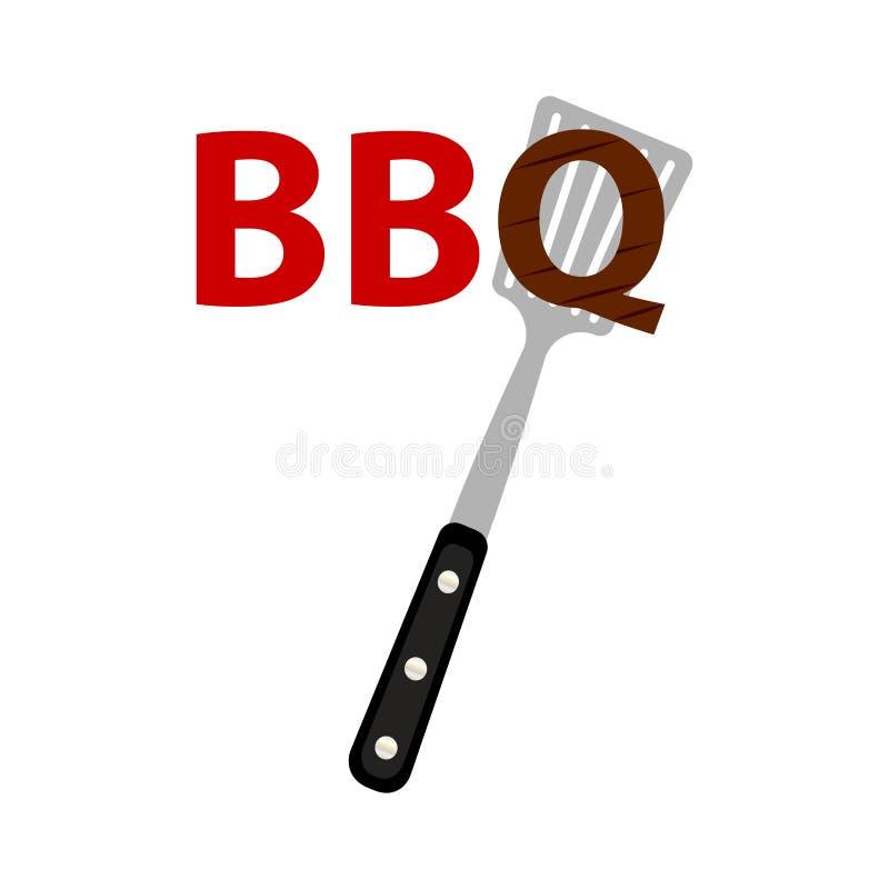 Abstrakta BBQ etykietka royalty ilustracja