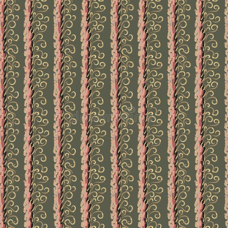 Abstrakta beigea och rosa band och guld- krullning vektor illustrationer