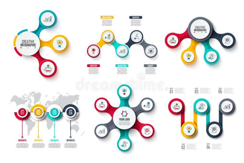 Abstrakta beståndsdelar av cirkeldiagram med 3, 4, 5 och 6 moment, alternativ, delar eller processar Vektoraff?rsmall f?r royaltyfri illustrationer