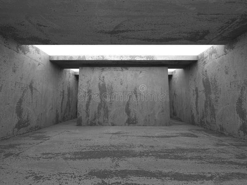 Abstrakta betonowy wnętrze Ciemny pokój z podsufitowymi światłami fotografia stock