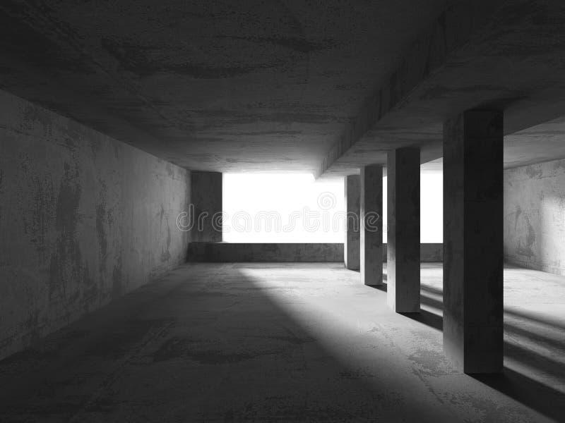 Abstrakta betonu pusty izbowy wnętrze Miastowy architektury backgr royalty ilustracja