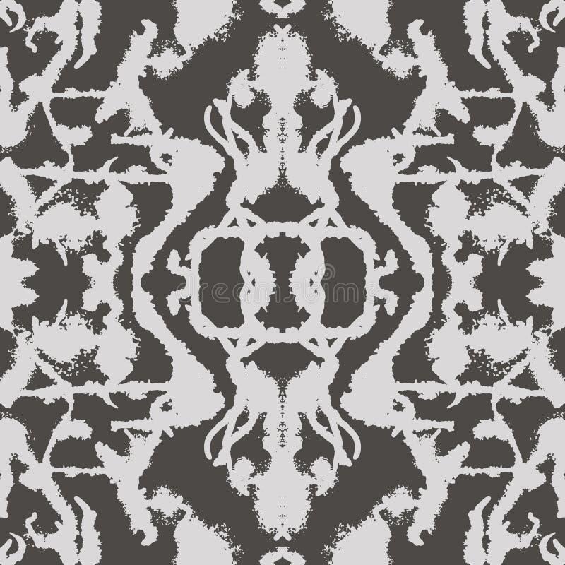 abstrakta bezszwowy wzoru Czarny i biały odzwierciedlająca, symetryczna powtórka wzoru ilustracja, ilustracji