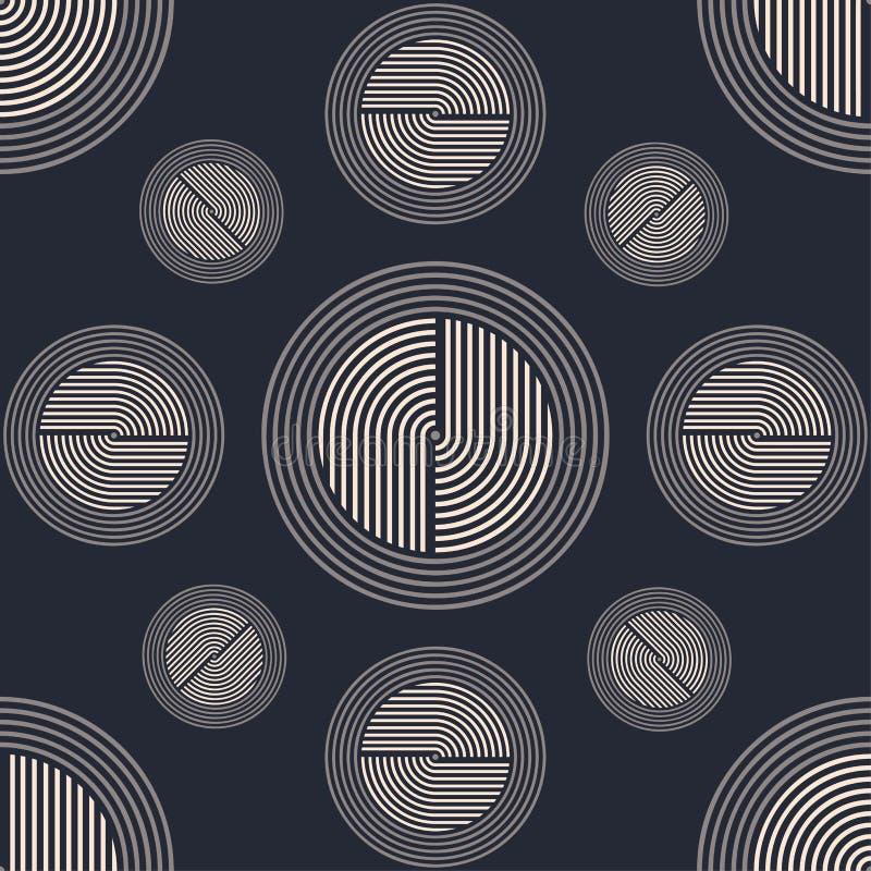 abstrakta bezszwowy wzoru Modny retro i rocznik stylowy tło Minimalny geometryczny kreskowy luksusowy projekt Art Deco wektor ilustracji