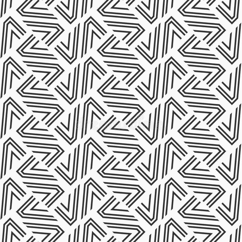 abstrakta bezszwowy wzoru nowożytna elegancka tekstura geometryczna siatka Wielostrzałowe geometryczne płytki od pasiastych eleme ilustracja wektor