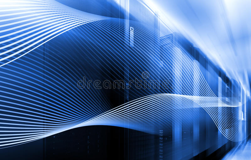 Abstrakta bildljusspår visualization av en hacker anfaller på informationsdataserveren royaltyfri illustrationer